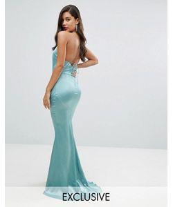 JARLO | Атласное Платье Макси С Высокой Горловиной И Шнуровкой Сзади