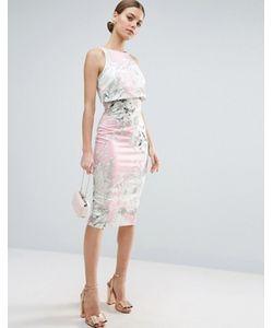 Asos | Розовое Платье-Футляр Миди С Укороченным Топом И Принтом