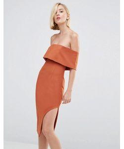 Lavish Alice | Асимметричное Платье Миди С Глубоким Лифом-Бандо
