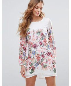 Yumi | Цельнокройное Платье С Длинными Рукавами И Цветочным Принтом