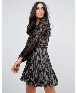 FOREVER UNIQUE | Кружевное Свободное Платье С Длинными Рукавами