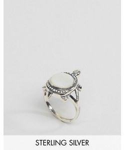Regal Rose   Серебряное Кольцо С Черепахой И Перламутровым Камнем