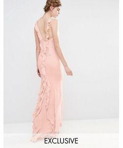 JARLO | Платье Макси С Асимметричным Краем И Оборками Сзади Wedding