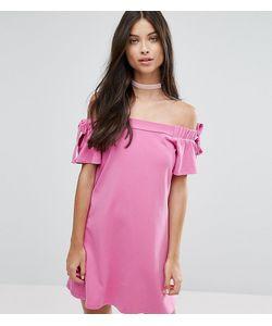 ASOS PETITE | Платье С Открытыми Плечами И Бантиками На Рукавах