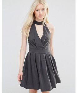 Wal G | Короткое Приталенное Платье С Отделкой Горловины