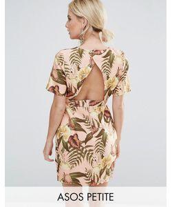 ASOS PETITE | Строгое Платье Мини С V-Образным Вырезом На Спине И Тропическим Принтом