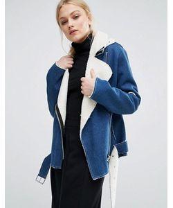 J.O.A | Джинсовая Байкерская Куртка С Подкладкой Из Искусственной Овечьей Шерсти