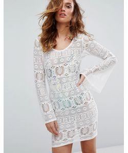 boohoo   Пляжное Платье Из Кроше С Расклешенными Рукавами