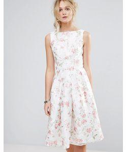 Chi Chi London | Структурированное Пышное Платье Миди С Цветочным Принтом