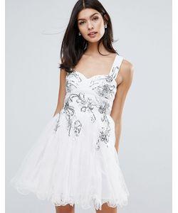 Little Mistress | Короткое Приталенное Платье С Цветочной Отделкой