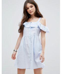 Qed London | Короткое Приталенное Платье С Оборками