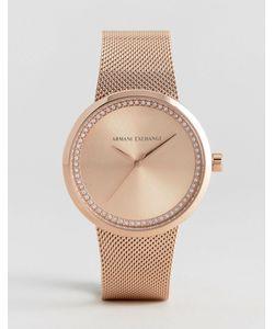 ARMANI EXCHANGE | Золотисто-Розовые Часы С Сетчатым Ремешком Liv