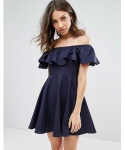 Qed London   Платье С Открытыми Плечами И Оборкой
