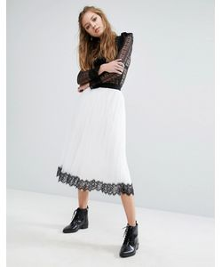 Navy | London Tulle Skirt With Contrast Lace Hem