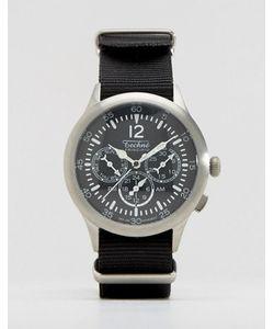 Techne   Черные Часы С Хронографом И Натовским Ремешком Merlin