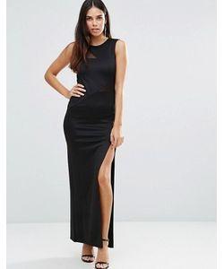 TFNC | Платье Макси С Сетчатой Отделкой И Разрезами Сбоку