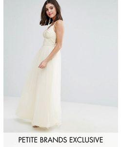 Chi Chi Petite   Chi Chi London Petite Strappy Corset Top Maxi Tulle Prom Dress