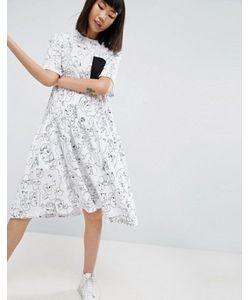 ASOS WHITE   Платье С Рисунками Лиц