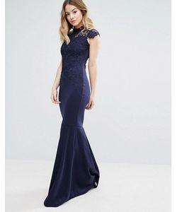 Club L | Платье Макси С Высоким Воротом Вязаным Крючком Кружевом И Шлейфом Club