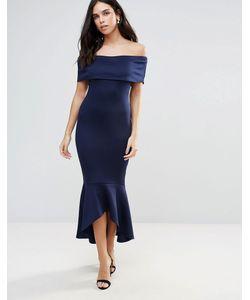 Club L | Платье С Открытыми Плечами И Заниженной Баской