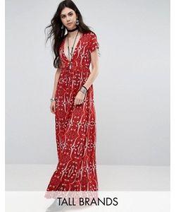 Glamorous Tall   Чайное Платье С Глубоким Вырезом И Принтом Пейсли
