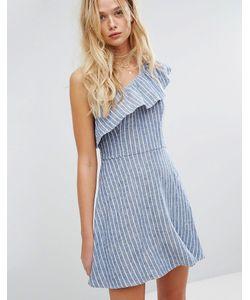 Hollister | Льняное Платье На Одно Плечо С Оборками