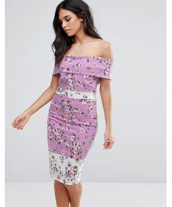 Vesper | Платье-Футляр Со Спущенными Плечами И Цветочным Принтом
