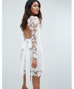 Club L | Ажурное Платье С Открытой Спиной И Длинными Рукавами