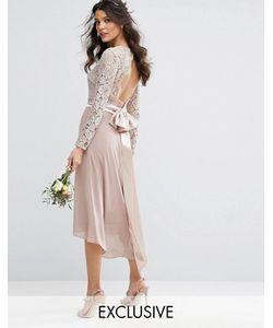 TFNC | Кружевное Платье Миди С Бантом Сзади Wedding