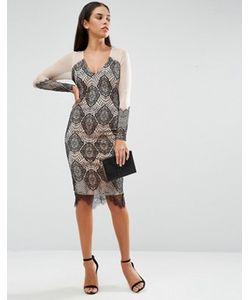 AX Paris   Облегающее Платье Из Кружева И Сеточки С Длинными Рукавами