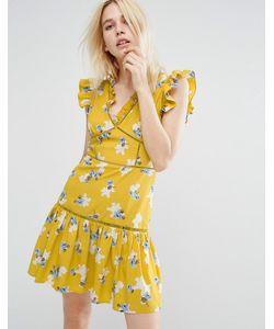 J.O.A | Чайное Платье Без Рукавов С Цветочным Принтом И Оборками