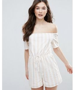 Parisian | Stripe Off Shoulder Playsuit