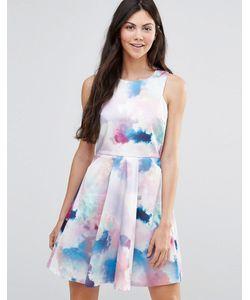 Yumi | Короткое Приталенное Платье С Принтом Облаков