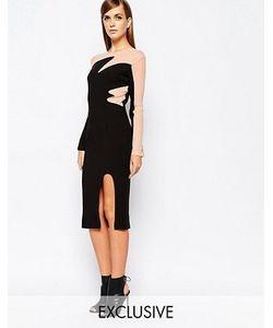 8th Sign | Платье Миди С Контрастными Вставками И Разрезом The