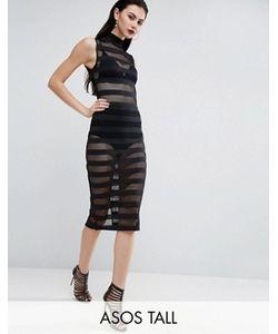 ASOS TALL | Облегающее Платье Миди С Сетчатыми Полосками И Высокой Горловиной