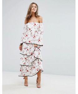 Foxiedox   Платье Макси С Открытыми Плечами Цветочным Принтом И Ярусными Оборками