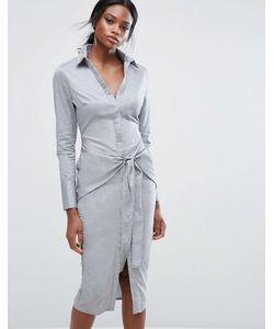 Lavish Alice   Cotton Shirt Dress With Tie Waist