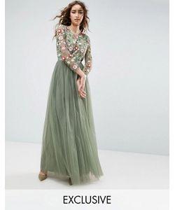 Needle & Thread | Платье Макси С Вышивкой И Длинными Рукавами Needle And Thread