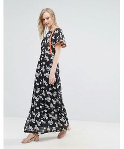 Liquorish   Платье Макси С Цветочным Принтом И Оранжевой Отделкой