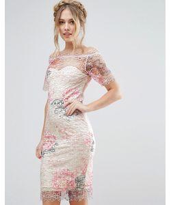 Paper Dolls   Кружевное Платье Миди С Открытыми Плечами И Цветочным Рисунком