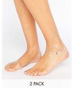 Asos   Набор Из 2 Браслетов На Ногу С Замочком И Ключиком