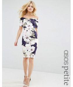 ASOS PETITE | Облегающее Платье Миди С Цветочным Принтом И Открытыми Плечами