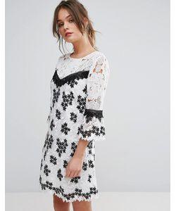 Miss Selfridge | Черно-Белое Кружевное Платье