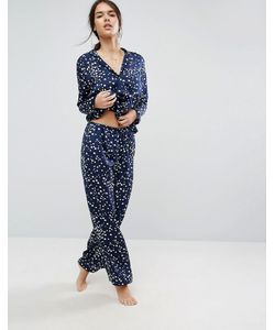Asos | Атласный Пижамный Комплект Со Звездным Принтом