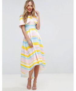 Asos | Платье В Яркую Полоску С Широким Отворотом