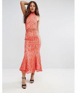Jarlo Tall | Кружевное Платье С Высоким Воротом И Асимметричным Краем