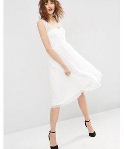 Asos | Платье Миди Для Выпускного Из Сеточки Добби С Запахом