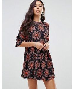 Motel | Чайное Платье С Пышными Рукавами И Цветочным Принтом