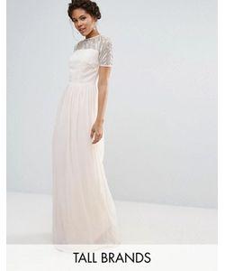 Maya Tall | Шифоновое Платье Макси С Отделкой