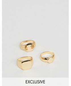 DesignB London | Набор Из 3 Золотистых Колец-Печаток